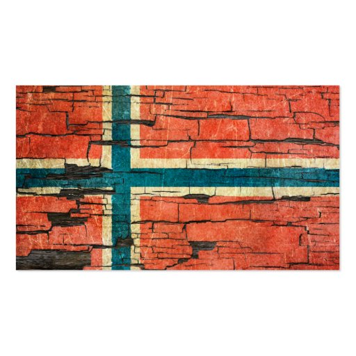 Cracked Norwegian Flag Peeling Paint Effect Business Card Template