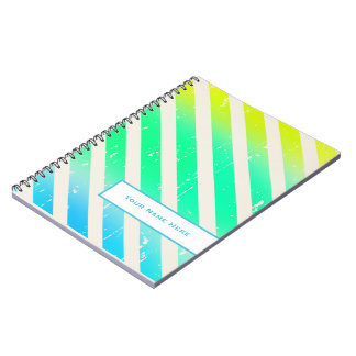 Cracked Ombre Stripes Personalized Notebook