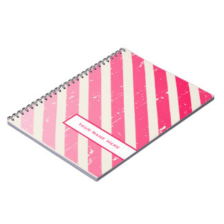 Cracked Pink Ombre Stripes Personalized Notebook