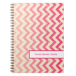 Cracked Pink Ombre Zigzag Personalized Notebook