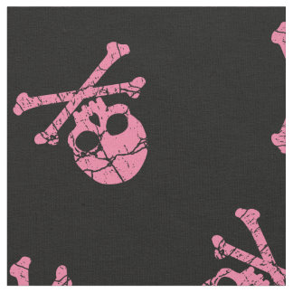 Cracked Pink Skull And Crossbones Fabric