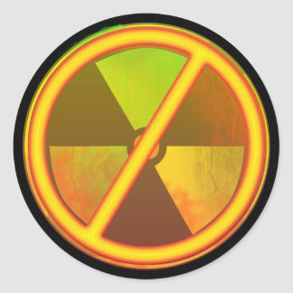 Cracked Radioactive Nuclear Symbol Sticker