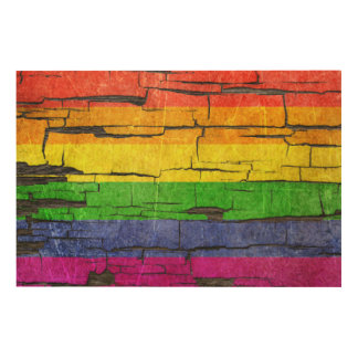 Cracked Rainbow Gay Pride Flag Peeled Paint Effect Wood Wall Decor