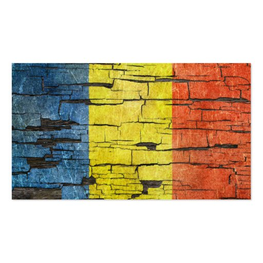 Cracked Romanian Flag Peeling Paint Effect Business Card Template