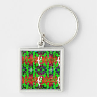 Cracked Silver-Colored Square Key Ring