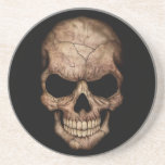 Cracked Skull Emerging From Darkness Coasters