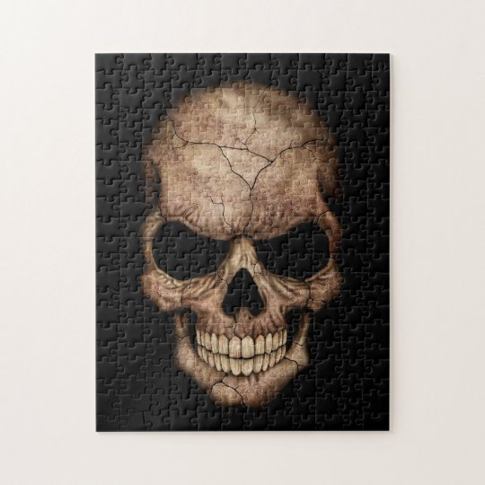 Cracked Skull Emerging From Darkness Jigsaw Puzzle