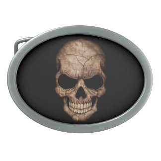 Cracked Skull Emerging From Darkness Oval Belt Buckle