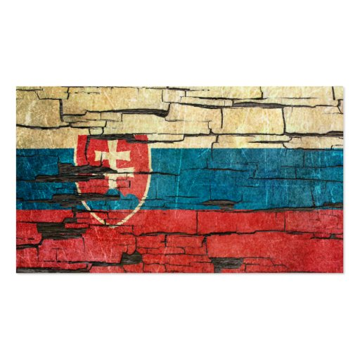 Cracked Slovakian Flag Peeling Paint Effect Business Cards