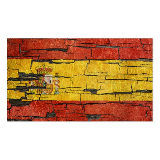 Cracked Spanish Flag Peeling Paint Effect Business Card Template