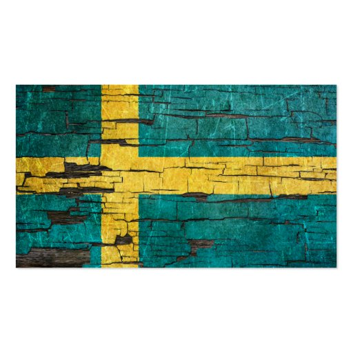 Cracked Swedish Flag Peeling Paint Effect Business Card Templates