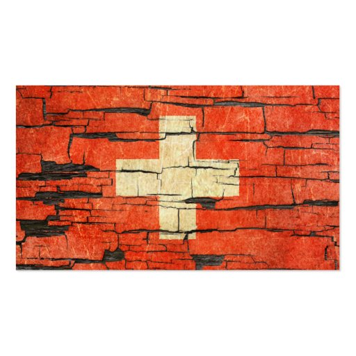 Cracked Swiss Flag Peeling Paint Effect Business Card Template