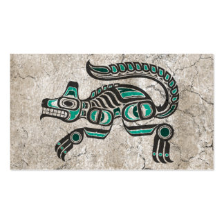 Cracked Teal Blue and Black Haida Spirit Wolf Double-Sided Standard Business Cards (Pack Of 100)