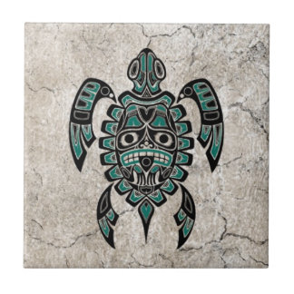 Cracked Teal Blue Haida Spirit Sea Turtle Tile