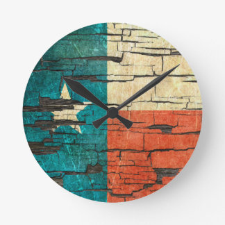 Cracked Texas Flag Peeling Paint Effect Round Clock