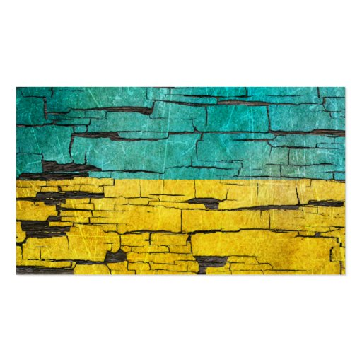 Cracked Ukrainian Flag Peeling Paint Effect Business Card Template
