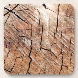 Cracked Wood Grain Hard Plastic Drink Coaster