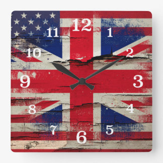 Crackle Paint | British American Flag Clocks