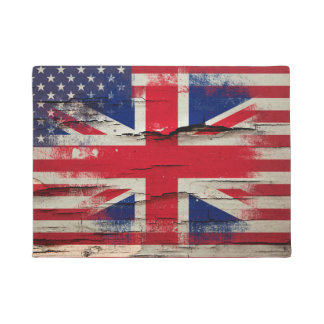 Crackle Paint | British American Flag Doormat