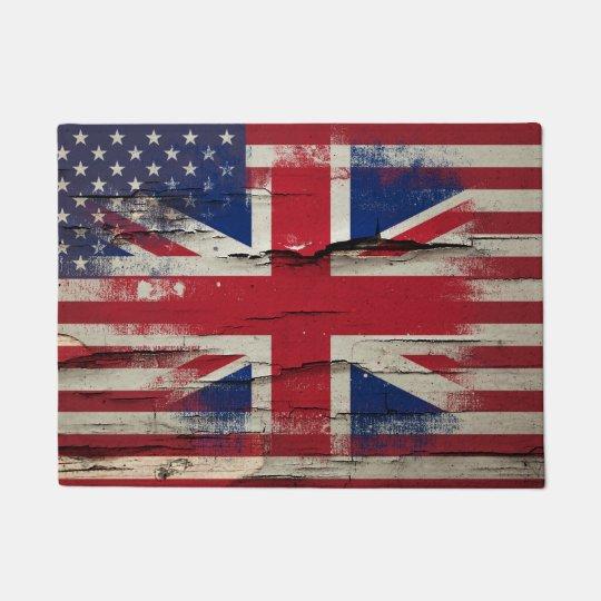 Crackle Paint   British American Flag Doormat