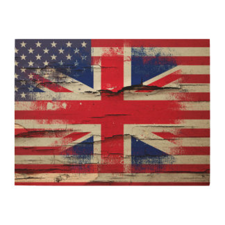 Crackle Paint | British American Flag Wood Print