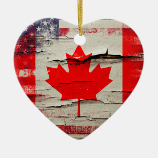 Crackle Paint | Canadian American Flag Christmas Ornament