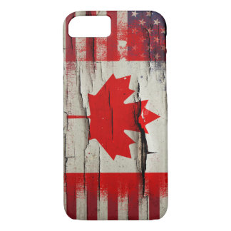 Crackle Paint | Canadian American Flag iPhone 8/7 Case