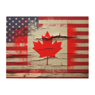 Crackle Paint | Canadian American Flag Wood Print