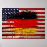 Crackle Paint | German American Flag Poster