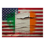 Crackle Paint | Irish American Flag Poster