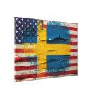 Crackle Paint   Swedish American Flag Canvas Print