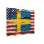 Crackle Paint | Swedish American Flag Gallery Wrapped Canvas