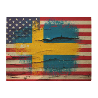 Crackle Paint | Swedish American Flag Wood Wall Art