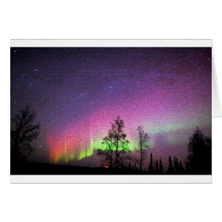 Crackle Texture Art Northern Lights Sky Alaska Card