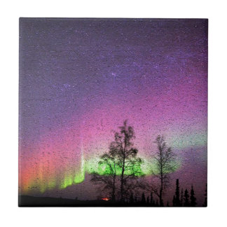 Crackle Texture Art Northern Lights Sky Alaska Tile