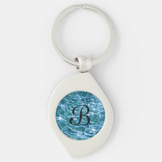 Crackled Glass Birthstone December Blue Topaz Silver-Colored Swirl Key Ring