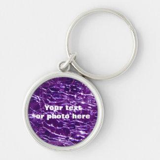 Crackled Glass Birthstone February Purple Amethyst Key Ring
