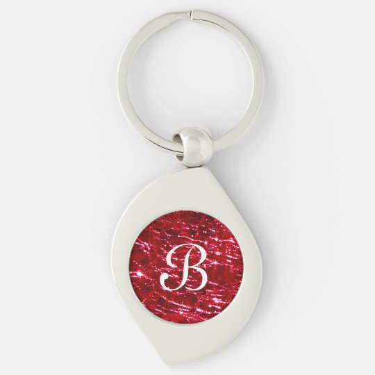 Crackled Glass Birthstone July Ruby Red Key Ring