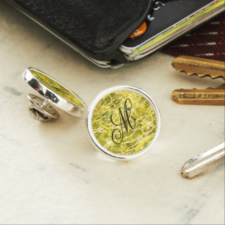 Crackled Glass Birthstone November Yellow Citrine Lapel Pin