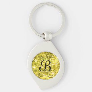 Crackled Glass Birthstone November Yellow Citrine Silver-Colored Swirl Key Ring