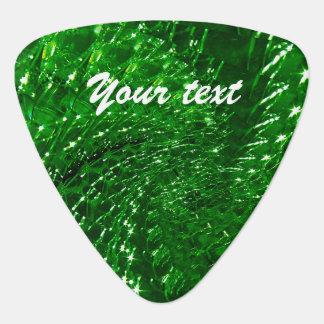 Crackled Glass Swirl Design - Green Emerald Plectrum