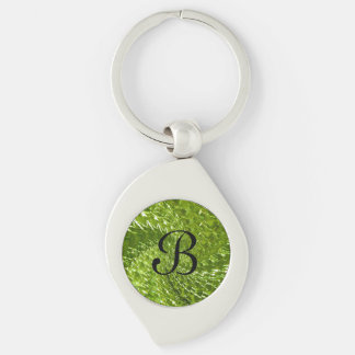 Crackled Glass Swirl Design - Green Peridot Silver-Colored Swirl Key Ring