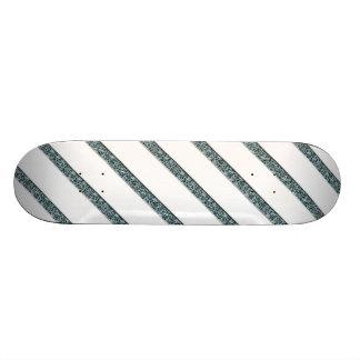 Crackled Lines in White & Blue Skateboard