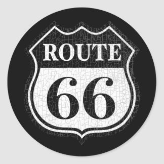 Crackled Rte 66 Round Sticker