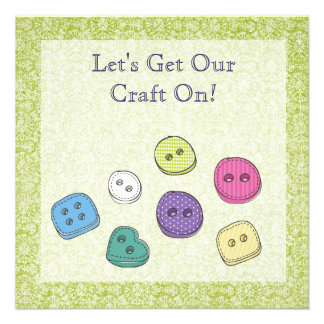 Craft Art Scrapbook Party Buttons Invite