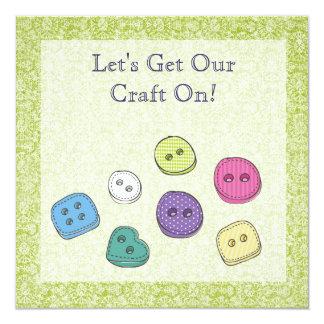Craft Art Scrapbook Party Buttons Invite