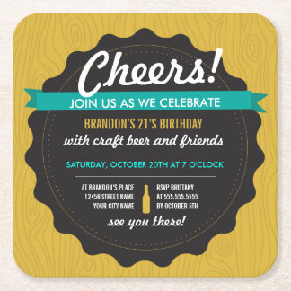Craft Beer Birthday Coaster Invite