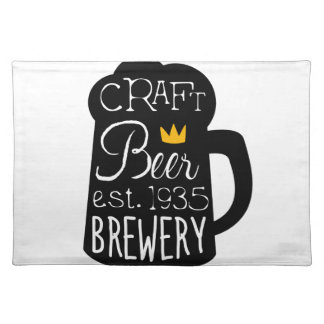 Craft Beer Logo Design Template With Pint Silhouet Placemat