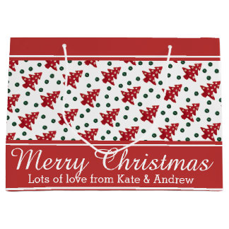 Craft Christmas Trees and Buttons Large Gift Bag