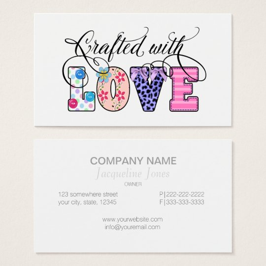 Crafted With Love Black Script ID193 Business Card